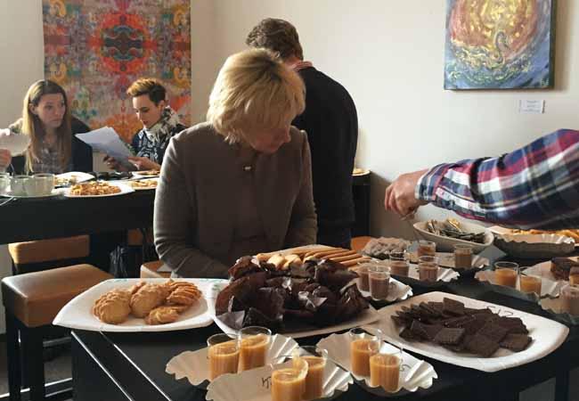 Judging cakes Sabine, Kath copy