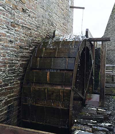 Over the top water wheel working Barony Mills