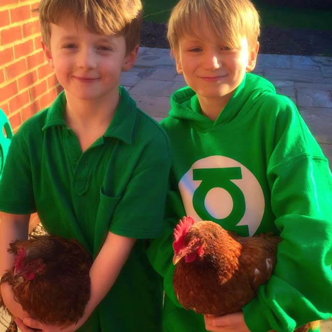 Tom & Simeon and chickens